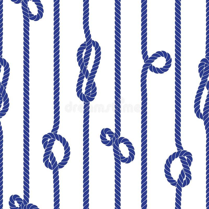 Verticale mariene kabel met knopen naadloos vectorpatroon vector illustratie