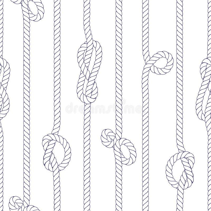 Verticale mariene kabel met knopen naadloze vectordruk royalty-vrije illustratie