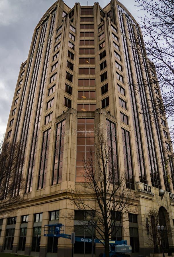 Verticale Mening van de Putten Fargo Tower Building, Roanoke, Virginia, de V.S. royalty-vrije stock fotografie