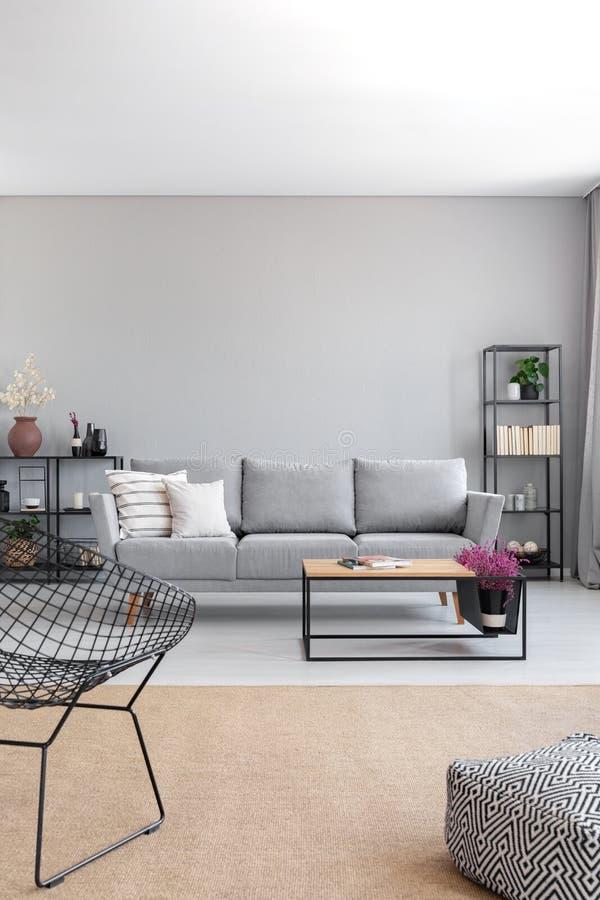 Verticale mening van elegante grijze woonkamer, echte foto met exemplaar stock afbeelding