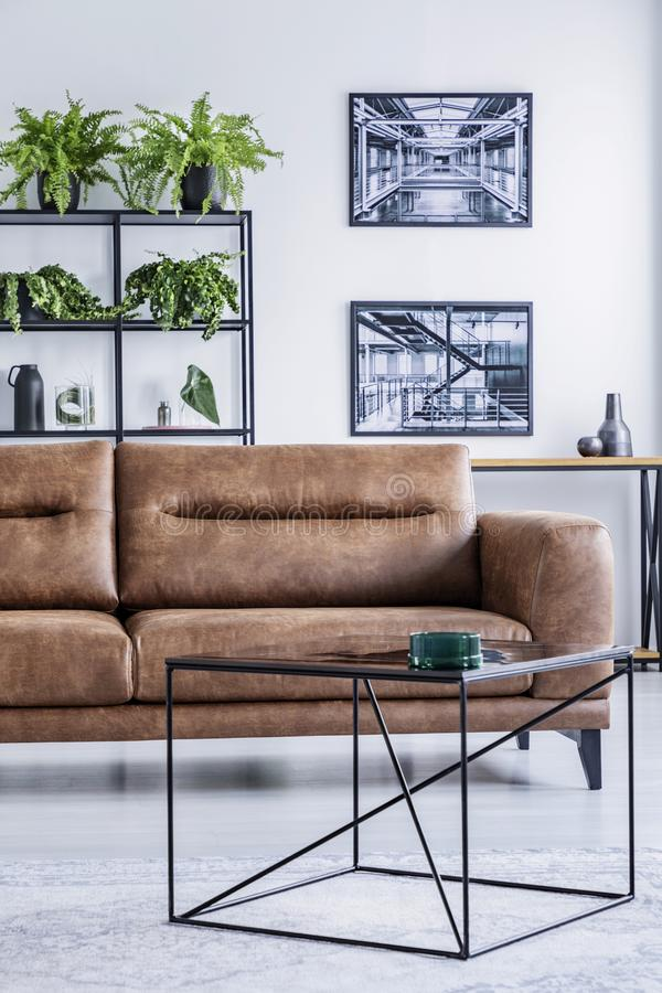 Verticale mening van ruime woonkamer met comfortabele leersofa, koffietafel en industriële affiches stock fotografie