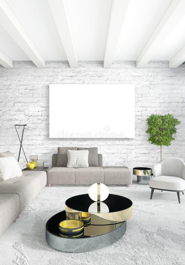 Verticale moderne binnenlandse slaapkamer of woonkamer met eclectische muur en leeg kader voor copyspacetekening het 3d teruggeve royalty-vrije illustratie