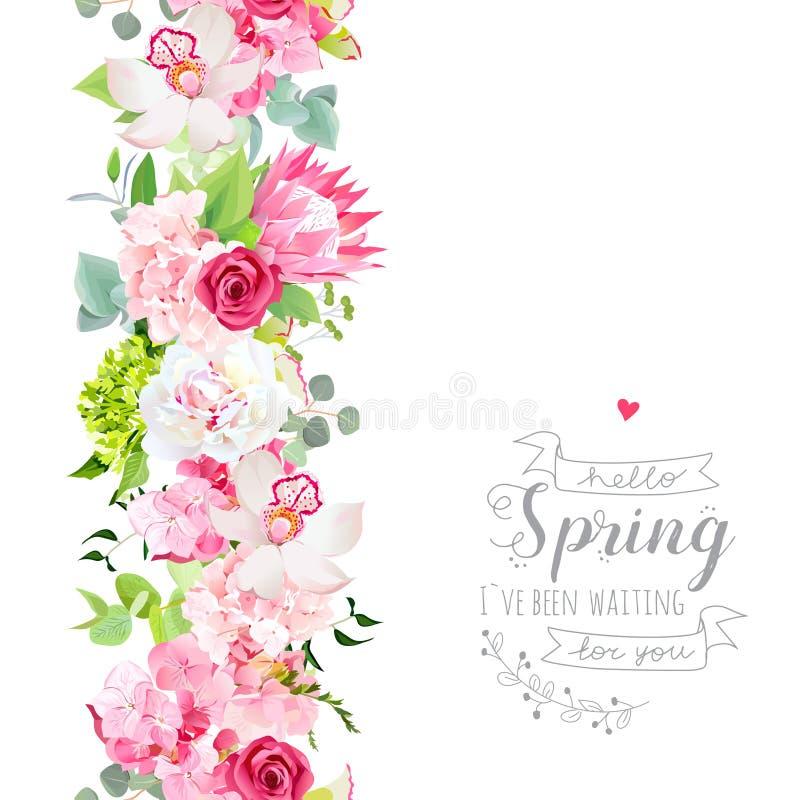 Verticale naadloze lijnslinger met roze hydrangea hortensia, orchidee, whit stock illustratie