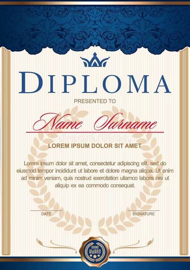 verticale nell'annata reale di stile, rococò, barocco del diploma combinazioni colori blu dell'oro di c illustrazione di stock
