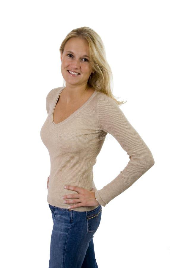 Verticale occasionnelle de beau femme blond photographie stock