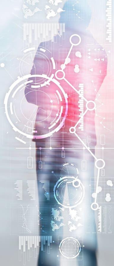Verticale Panoramabanner De bedrijfsinterface mengde media dubbel de grafiekdiagram en pictogram van de blootstellings financieel vector illustratie