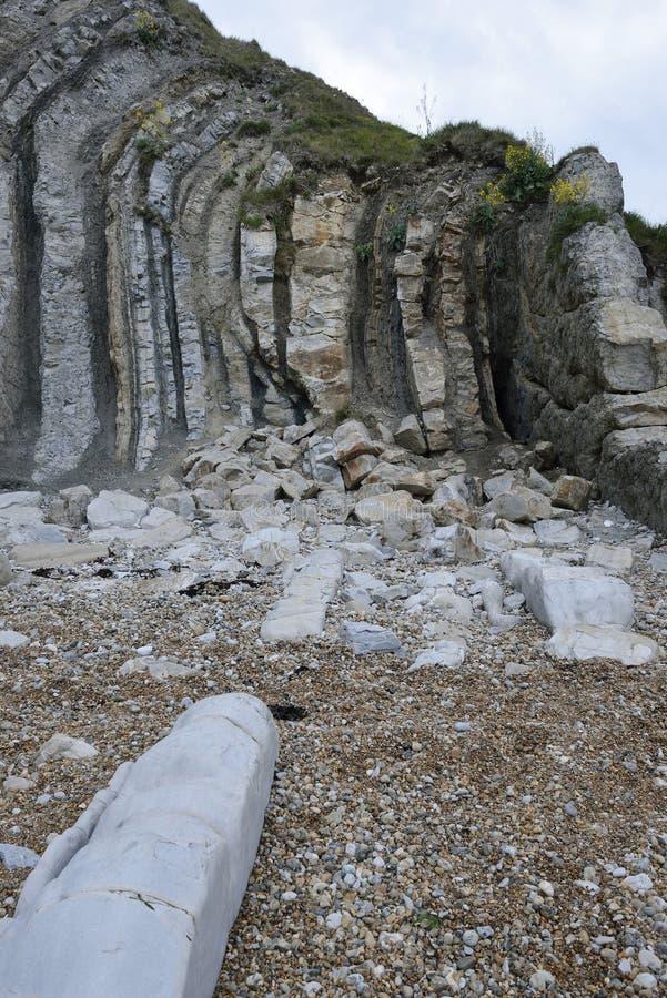 Verticale Purbeck-Kalksteenbedden stock afbeelding
