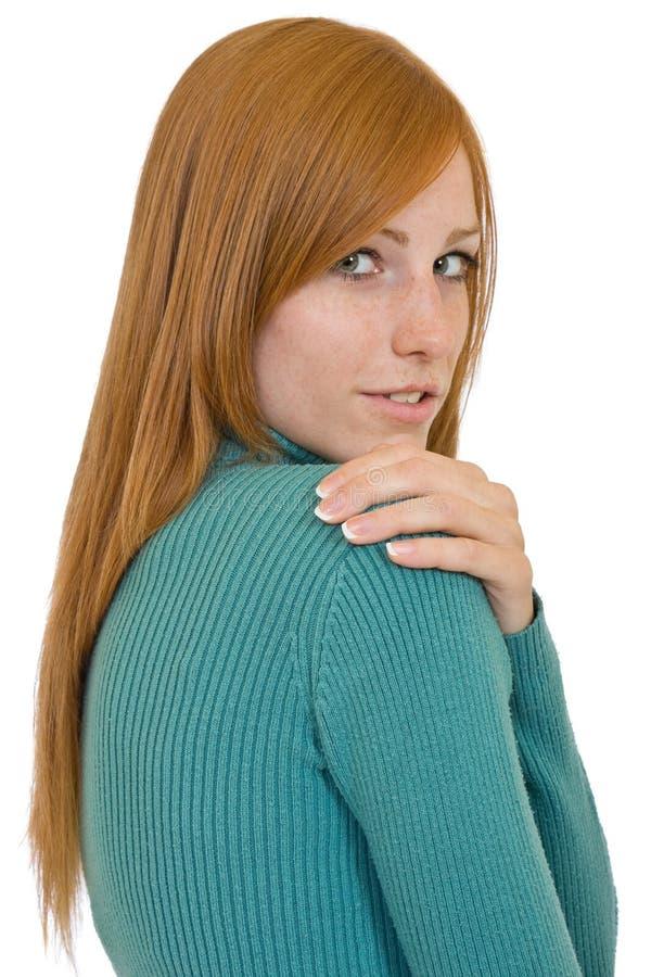 Verticale rousse sexy de femme photo libre de droits
