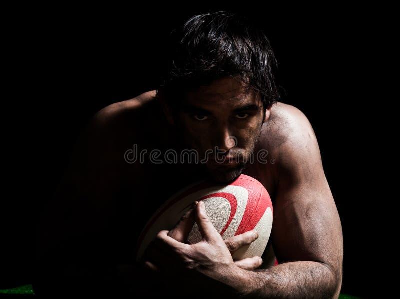 Verticale sexy d'homme de rugby de torse nu photos libres de droits