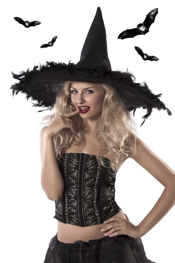 Verticale sexy d'une belle sorcière photographie stock