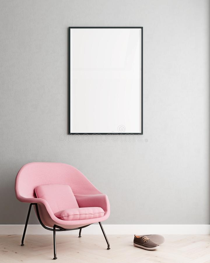 Verticale spot op affichekader op moderne binnenlandse achtergrond, millennial roze leunstoel in woonkamer, Skandinavische stijl vector illustratie