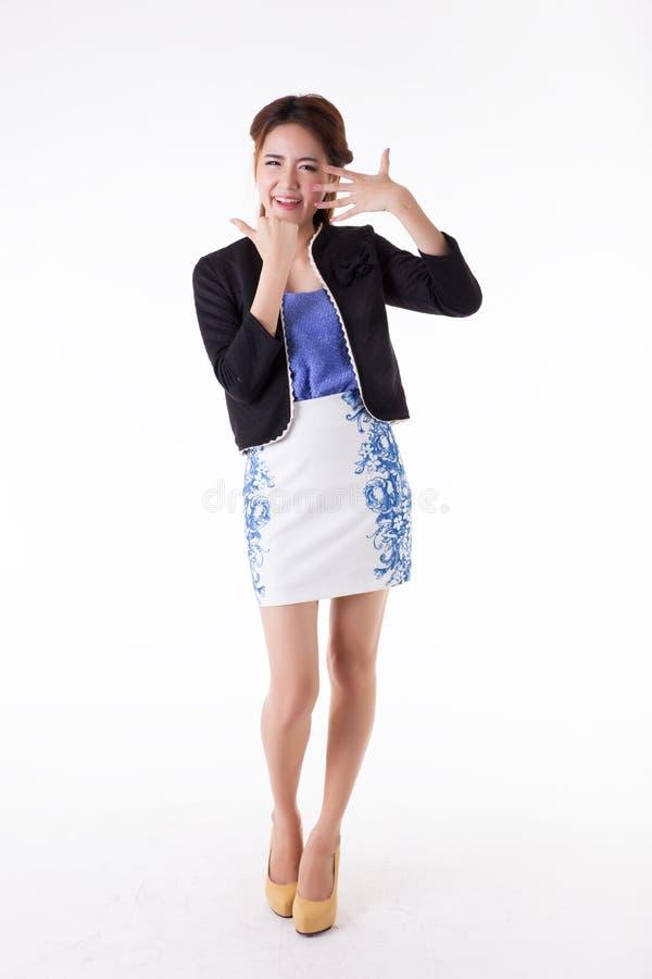Verticale tha?e active asiatique de la verticale woman photos libres de droits