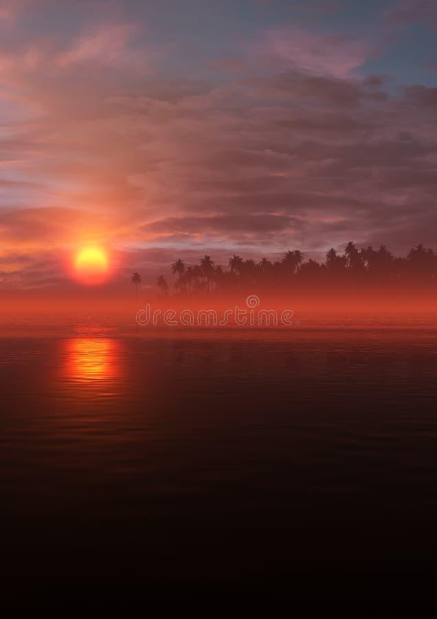 Verticale tropicale de paysage de coucher du soleil ardent illustration stock