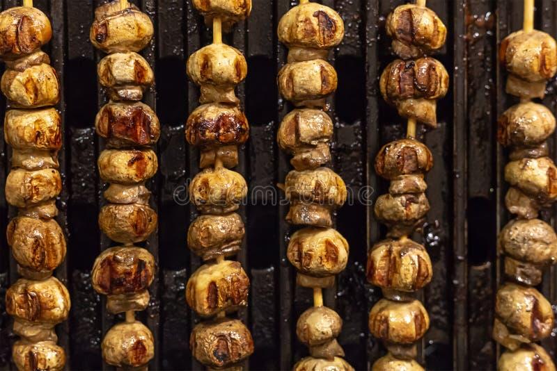 Verticale van de de kebab mini geroosterde snack van de kammosselpaddestoel smakelijke heerlijke de picknick openluchtrecreatie royalty-vrije stock fotografie