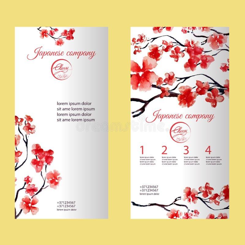 Verticale vlieger of brochure met kersenbloesem of sakuraboom Geschilderd door waterverf Het collectieve ontwerp van de identitei royalty-vrije illustratie