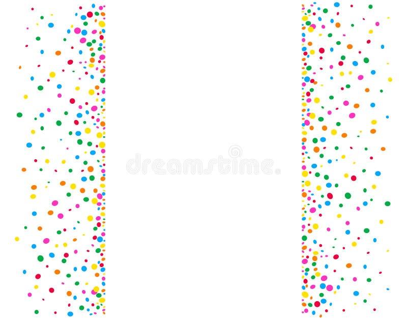Verticale witte achtergrond met gekleurde punten en confettis royalty-vrije illustratie