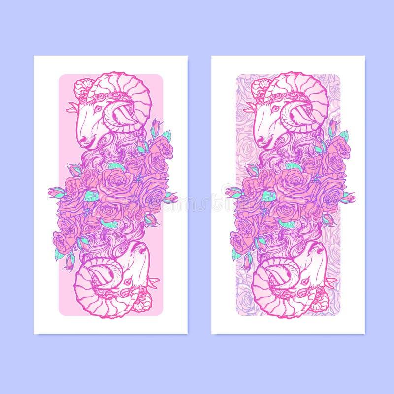 Verticall-Fahnen mit Tierkreis-Widder und einem dekorativen Rahmen von Rosen Astrologienetzelement lizenzfreie abbildung