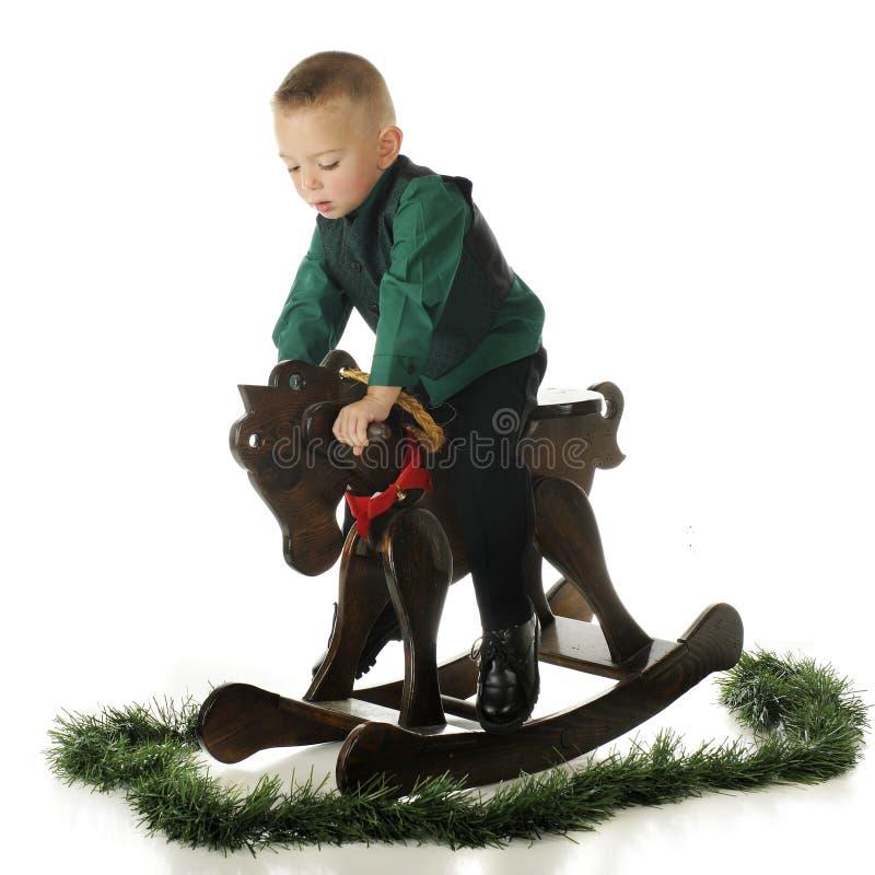 Vertiginoso-Acima, cavalo do Natal fotografia de stock