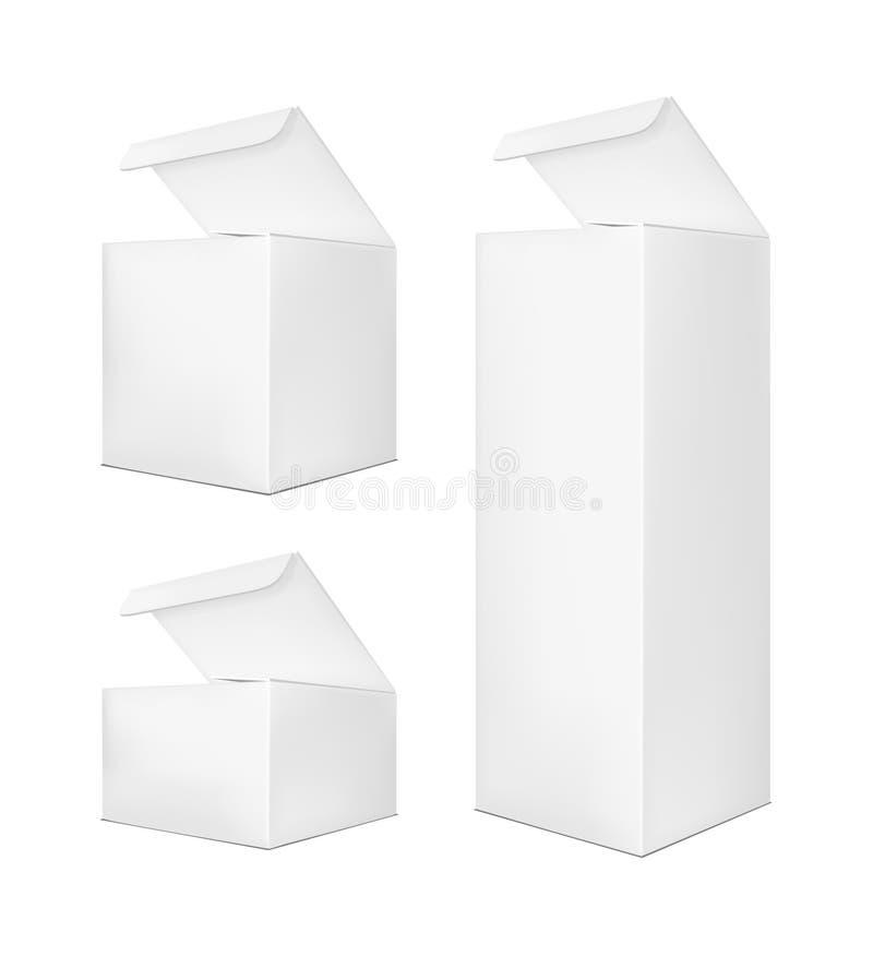 Vertikal öppen pappers- ask för mellanrum på vit bakgrund stock illustrationer