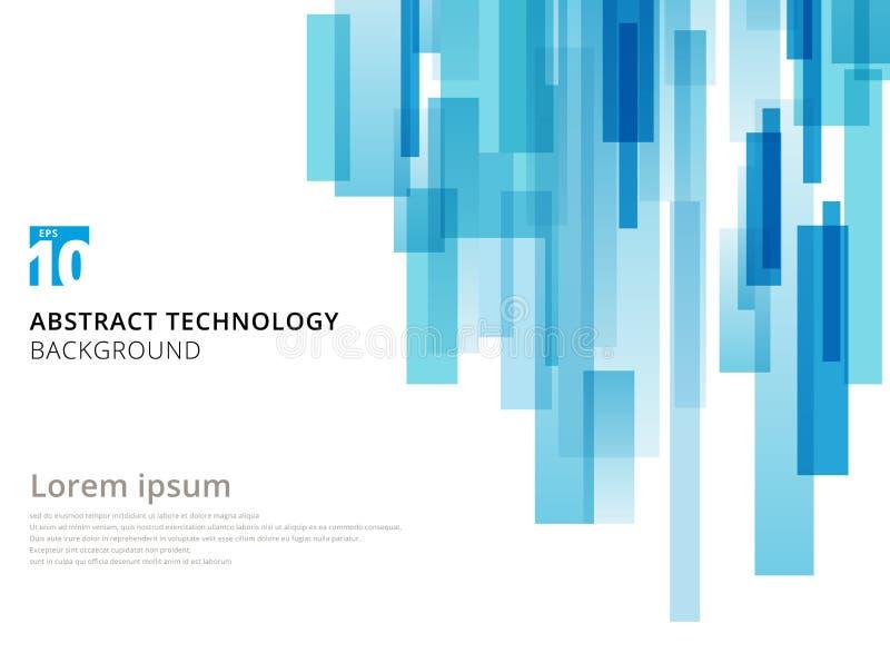 Vertikal överlappad geometrisk fyrkantform för abstrakt teknologi stock illustrationer