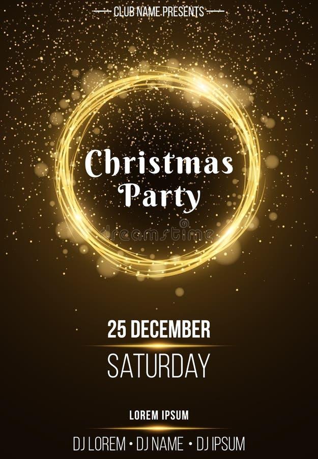 Vertikal affisch för bakgrund för ett julparti Glänsande guld- baner med gula ljus för guld- dammabstrakt begrepp festlig affisch stock illustrationer