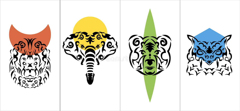 Vertikal affisch för stam- anima, stam- djur vertikal vektoraffischuppsättning stock illustrationer