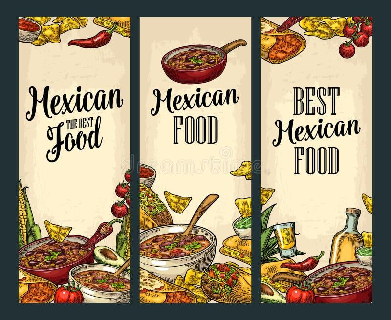 Vertikal affisch med mexicansk traditionell mat och ingrediensen stock illustrationer