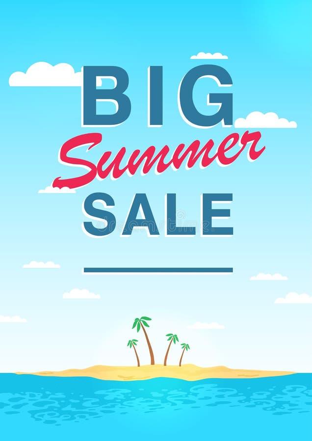 Vertikal affisch på stort sommarförsäljningstema Ljus befordrings- reklamblad med himmel, havet, ön och palmträd färgrikt royaltyfri illustrationer