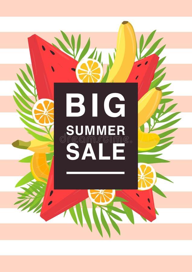 Vertikal affisch på stort sommarförsäljningstema Ljus befordrings- reklamblad med olika frukter och palmblad färgrikt stock illustrationer