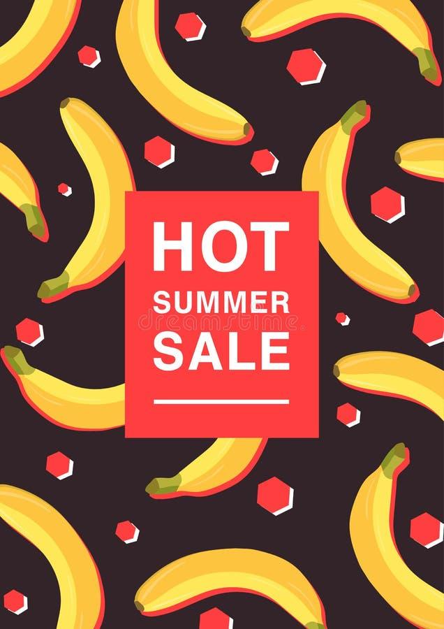 Vertikal affisch på varmt sommarförsäljningstema Ljus befordrings- reklamblad med bananer, röda polygoner och inskriften färgrikt stock illustrationer