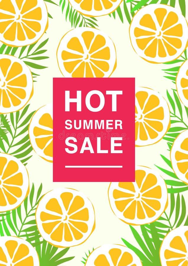 Vertikal affisch på varmt sommarförsäljningstema Ljus befordrings- reklamblad med citronskivor och palmblad färgrikt vektor illustrationer