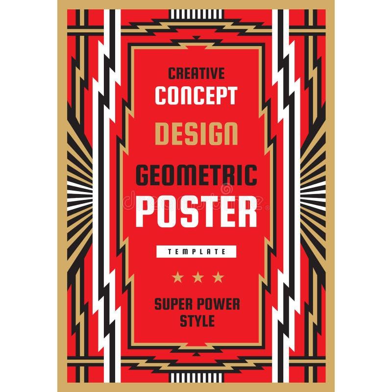 Vertikal art décoaffischmall i tung maktstil Geometriskt abstrakt baner Orientering för grafisk design Musikkonserten vaggar conc stock illustrationer