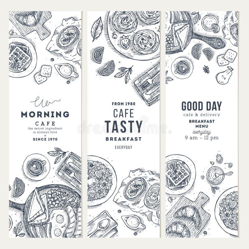 Vertikal banersamling för frukost Olik matbakgrund Inristad stilillustration Hjältebild också vektor för coreldrawillustration vektor illustrationer