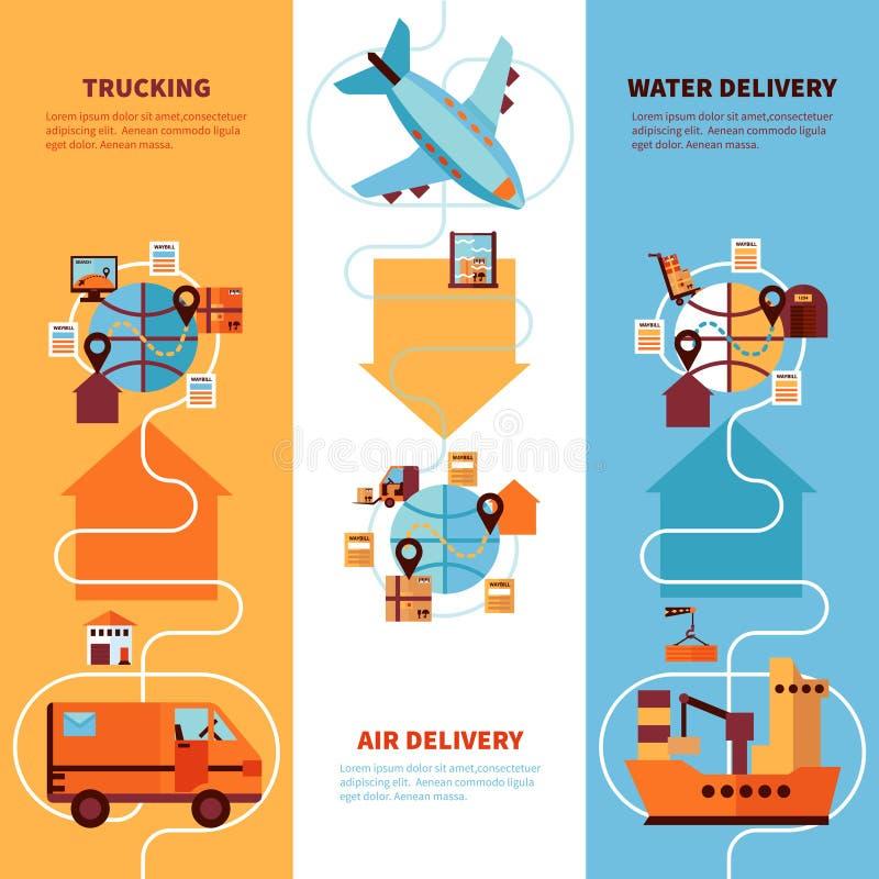Vertikal baneruppsättning för logistik stock illustrationer