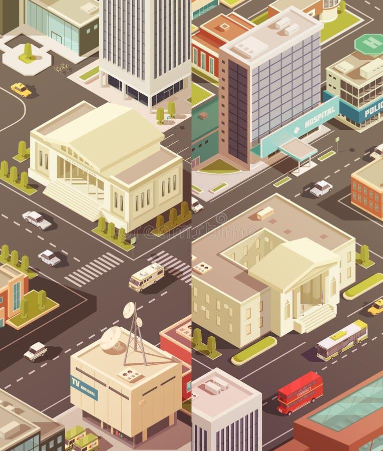 Vertikal baneruppsättning för regerings- byggnader vektor illustrationer