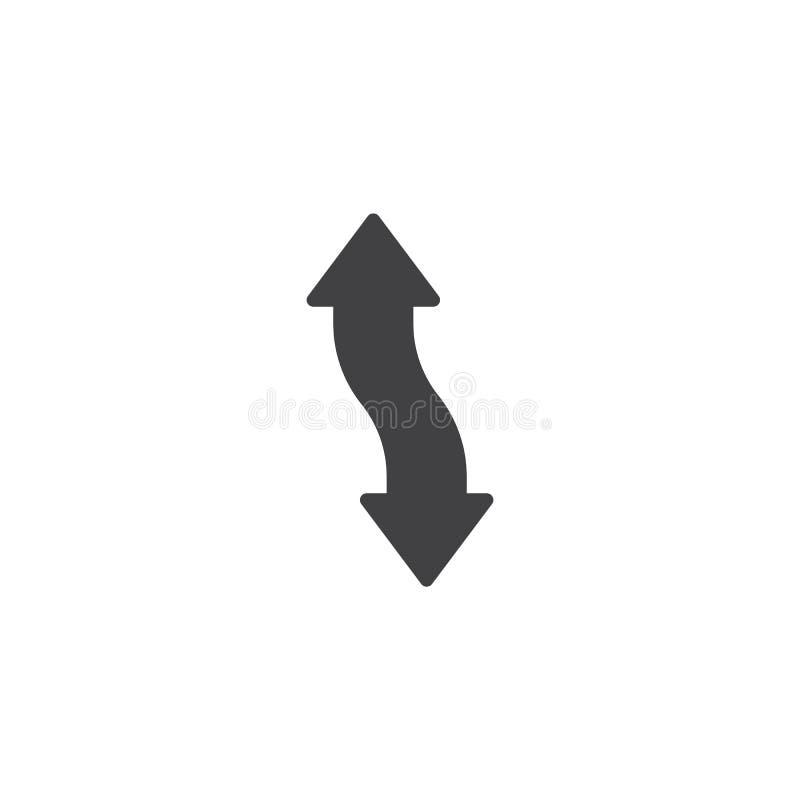 Vertikal dubbel symbol för huvudpilvektor royaltyfri illustrationer