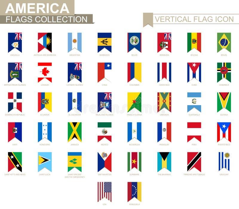 Vertikal flaggasymbol av Amerika stock illustrationer