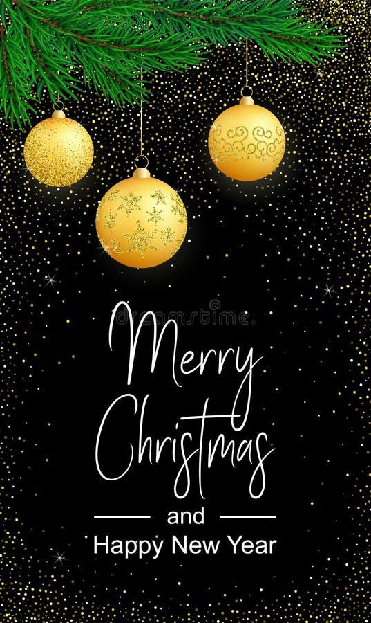 Vertikal glad julkort för vektor med guld- bollar på svart royaltyfri illustrationer