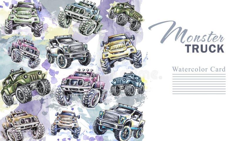 Vertikal gräns för vattenfärgbilar Ram för gigantiska lastbilar för tecknad film Färgrik extrem sportbakgrund 4x4 av vägen Man` s vektor illustrationer