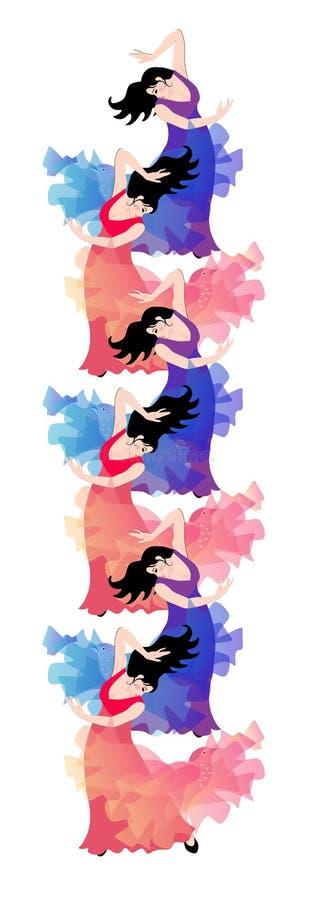 Vertikal gräns med flamencodansare - flickor stock illustrationer