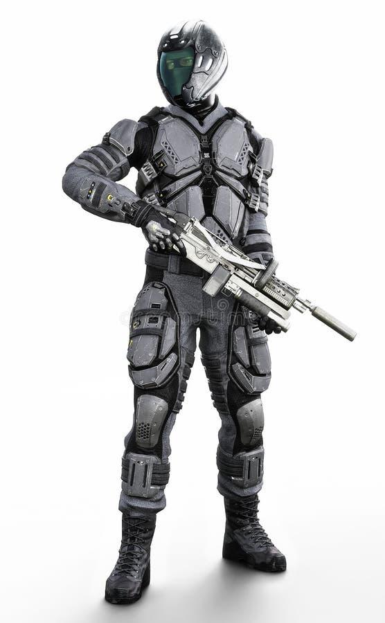 Vertikal illustration f?r full l?ngd av en maskerad futuristisk bepansrad soldat p? en isolerad vit bakgrund royaltyfri illustrationer