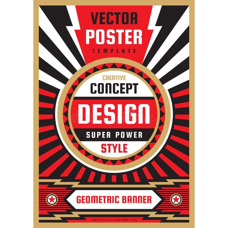 Vertikal konstaffischmall i tung maktstil Vertikalt baner för nationell patriotismfrihet Orientering för grafisk design musik royaltyfri illustrationer