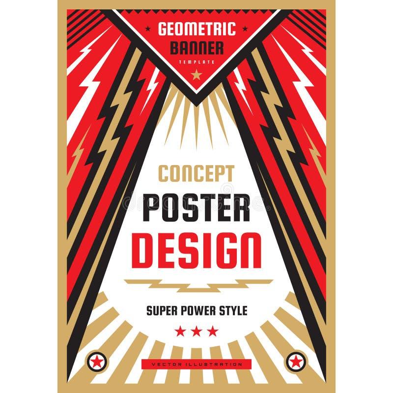 Vertikal konstaffischmall i tung maktstil Vertikalt baner för nationell patriotismfrihet Orientering för grafisk design Musik vag royaltyfri illustrationer