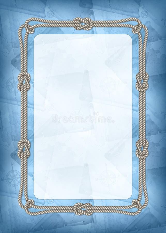 Vertikal mall av diplomet, banret eller hälsningkortet med havsdesignbeståndsdelar royaltyfri illustrationer