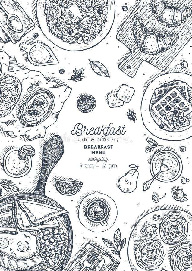 Vertikal mall för design för bästa sikt för frukost Olik matbakgrund Inristad stilillustration Hjältebild också vektor för coreld vektor illustrationer