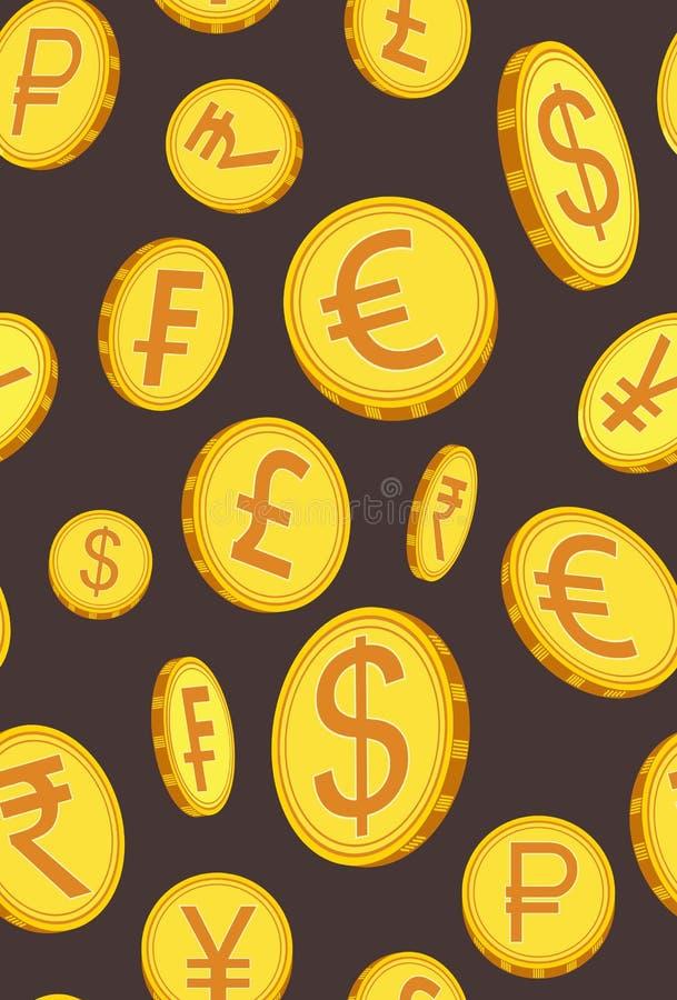 Vertikal modell med guld- mynt i olika vinklar också vektor för coreldrawillustration stock illustrationer