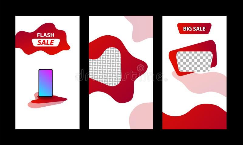 Vertikal modern bakgrund för vätskemalldesign med befordran för röd, svart och vibrerande violett färg för lutning till salu vektor illustrationer