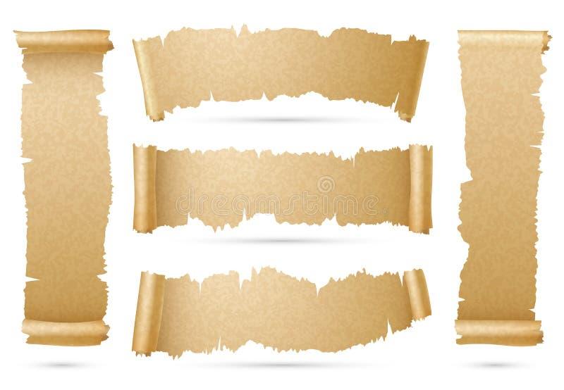 Vertikal och horisontalgammal pappers- uppsättning för vektor för baner för snirkelband vektor illustrationer