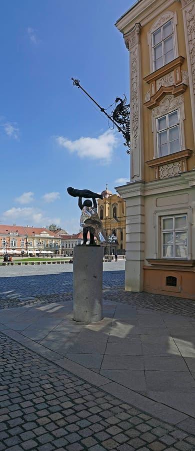 Vertikal panoramasikt av en del på Union Square i Timisoara, royaltyfri bild