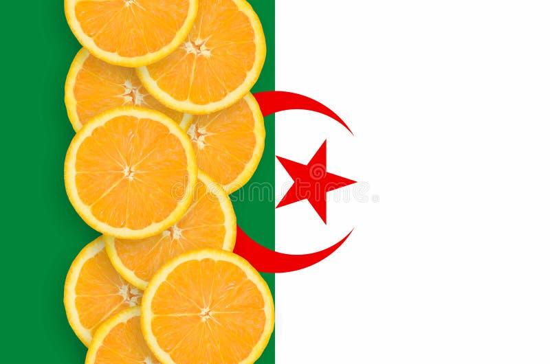 Vertikal rad för Algeriet flagga- och citrusfruktskivor arkivbilder